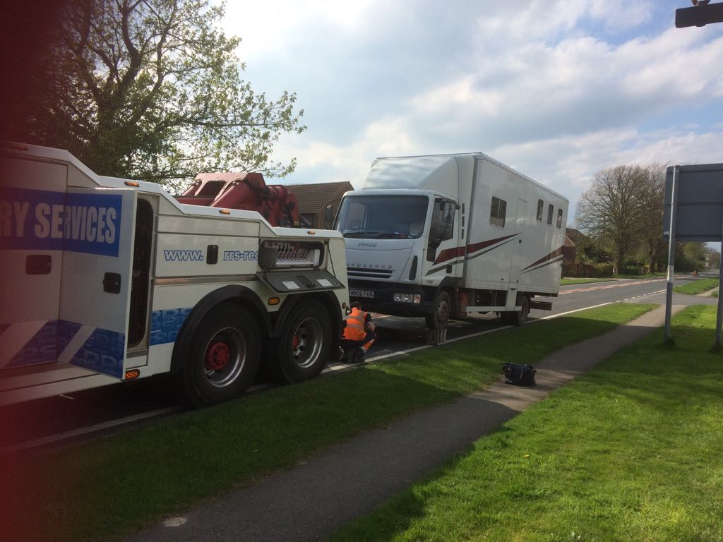 Charlotte's horsebox being rescued